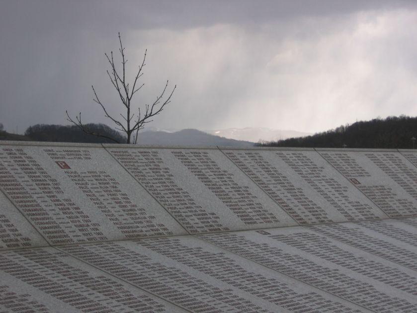 Wall of names at the Potočari genocide memorial near Srebrenica