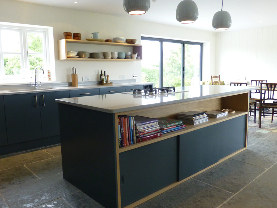 Slate Gray And Oak Bespoke Kitchen By Peter Henderson Furniture