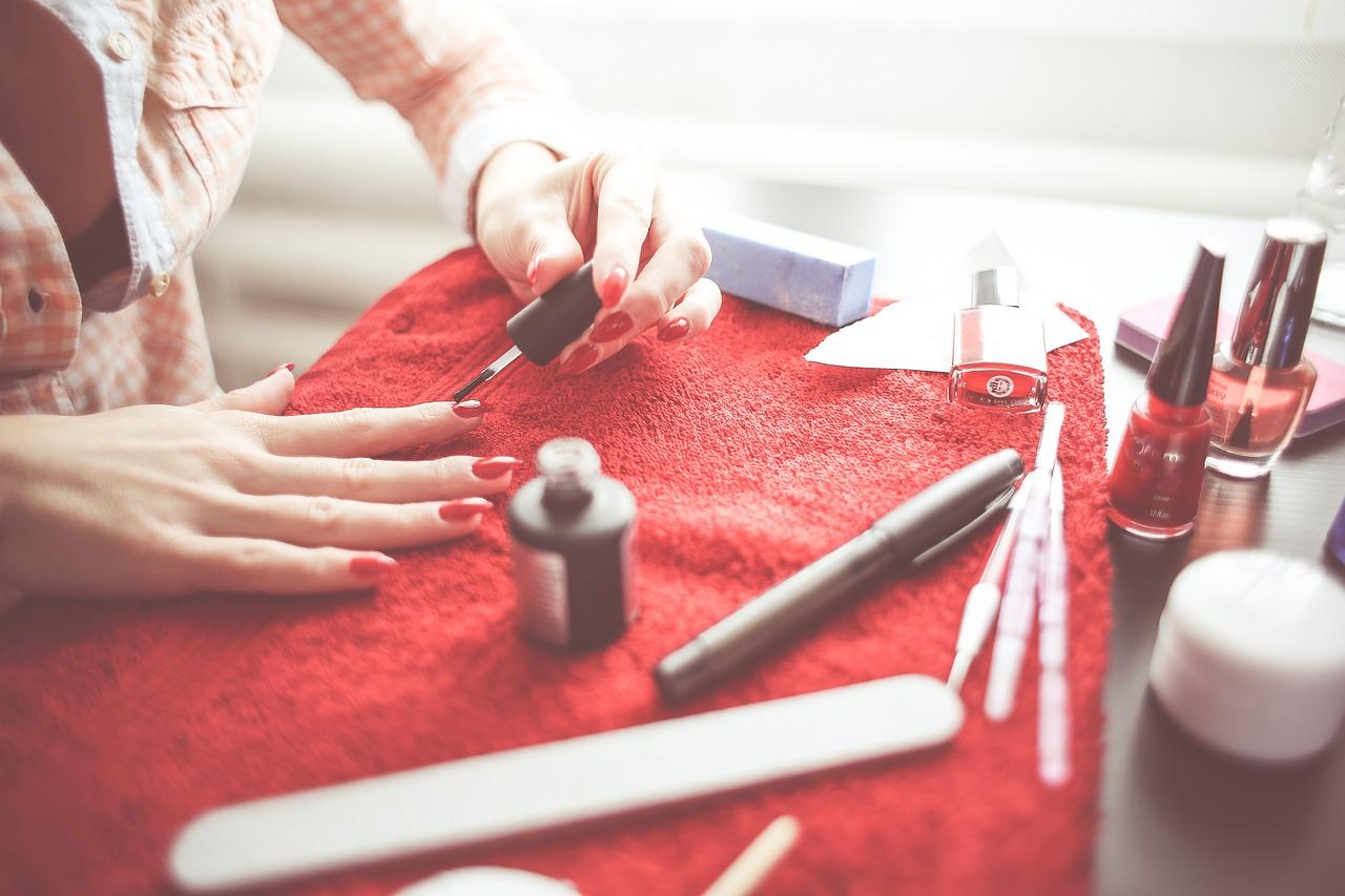 red polish manicure