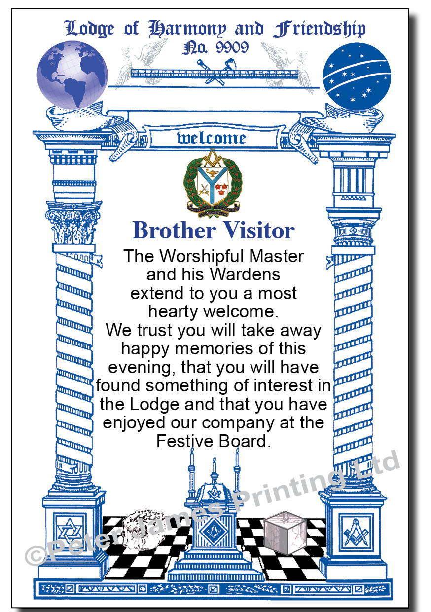 Lodge Visitors Welcome Cards Peter James Printing