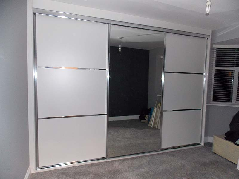 Beautiful chrome  white panelled mirrored sliding