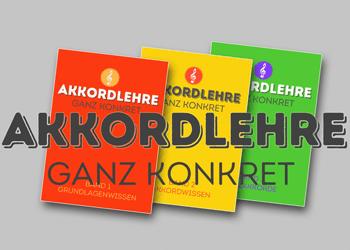 """Titelbilder 3 Bände Harmonielehre-Buch """"Akkordlehre"""" von Peter M. Haas"""