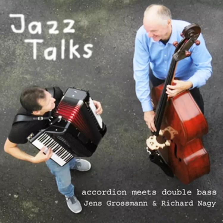 """CD Cover """"Jazz Talks"""" mit Jazzklassikern auf Akkordeon und Kontrabass"""