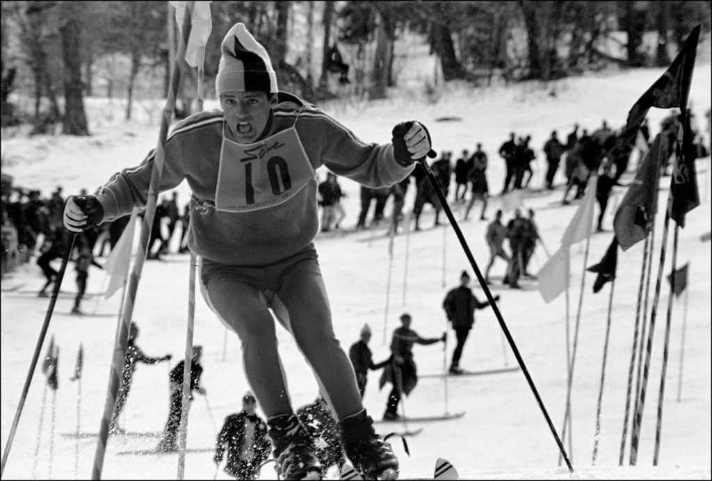 Jean Claude Killy racing slalom on Mt. Mansfield,  Stowe Nationals, 1966