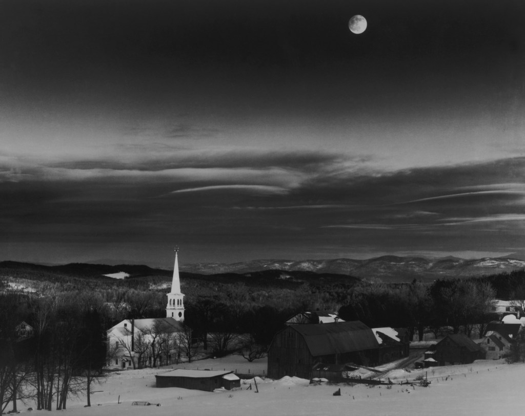 The moon over Peacham Vermont