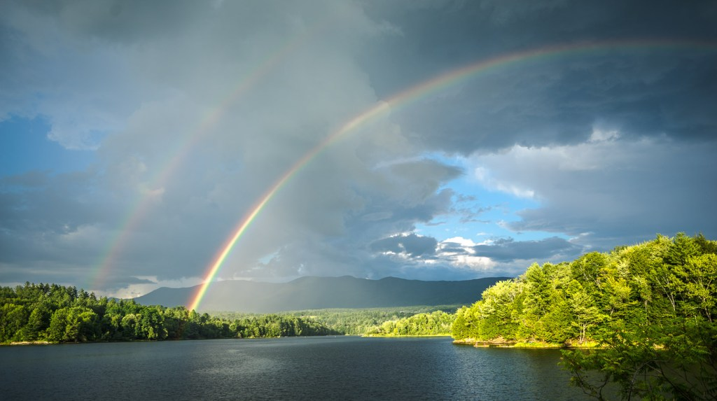Waterbury VT, Reservoir double rainbow.