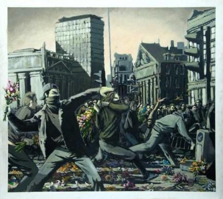 illustration poésie par meutes fleurs Banksy