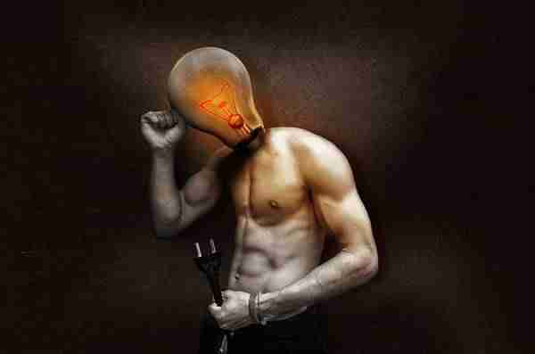man with bulb in place of head - story ideas