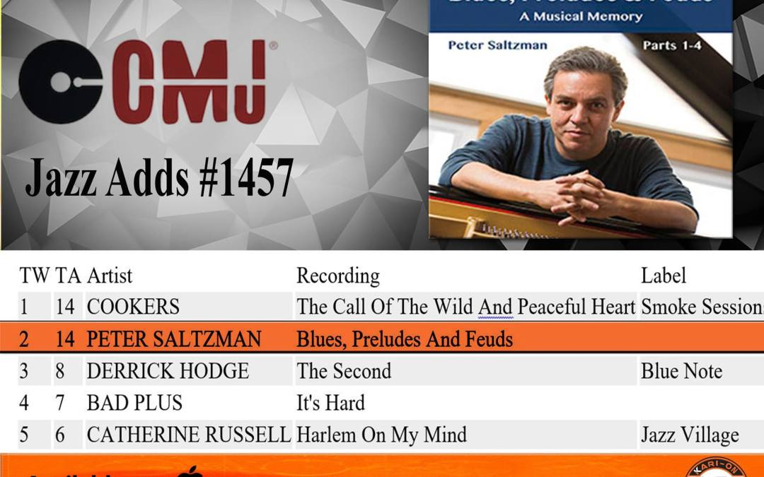 "Peter Saltzman debuts at #2 on the CMJ Top Jazz Adds Chart with ""Blues, Preludes & Feuds."""