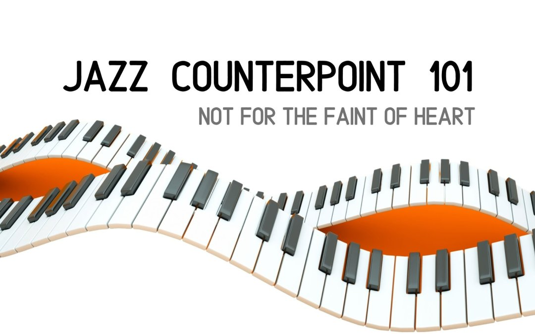 Two intertwining piano keyboards representing Jazz counterpoint