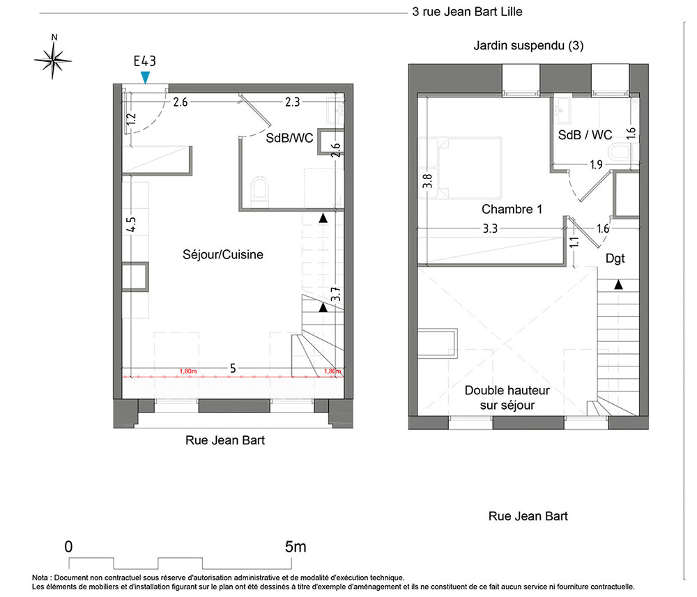 Duplex n°E43 Cosmopole : T2 de 45.90 m² à Lille