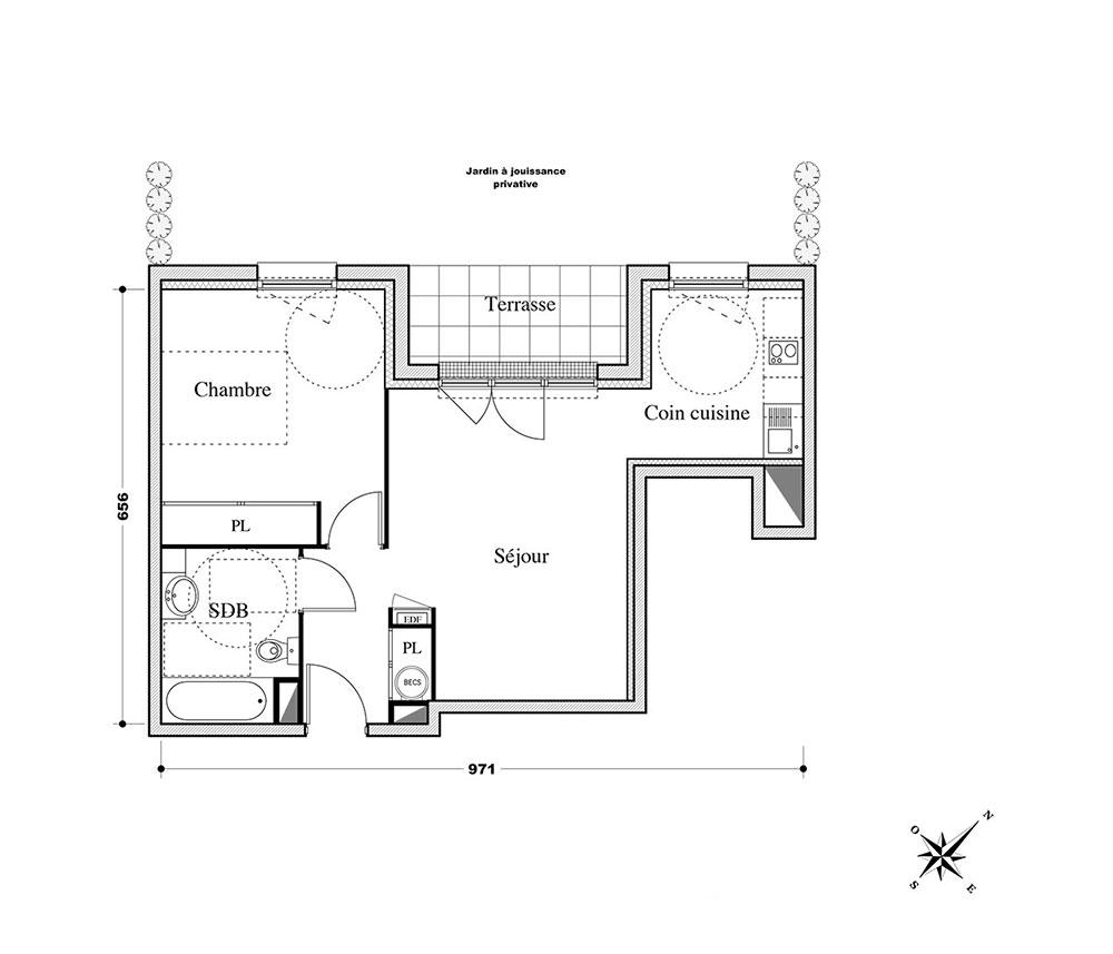 Appartement n°A04 Pallas Résidence : T2 de 44.70 m² à Melun