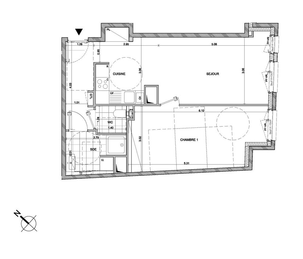 Appartement n°A502 Mistral : T2 de 52.50 m² à Paris 14ème