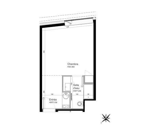 Appartement n°117 Résidence Paris 17 : T1 de 27.30 m² à