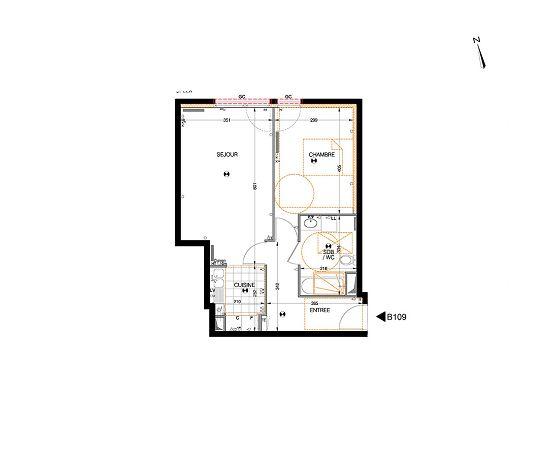 Appartement n°B109 Le Verger du Roy : T2 de 50.89 m² à