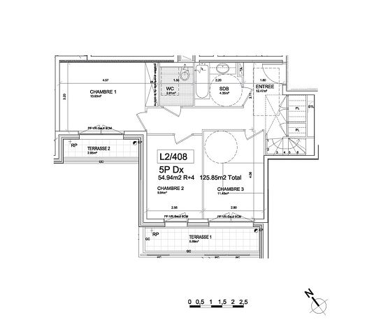 Duplex n°L2408 Les Terrasses Baltard : T5 de 125.85 m² à