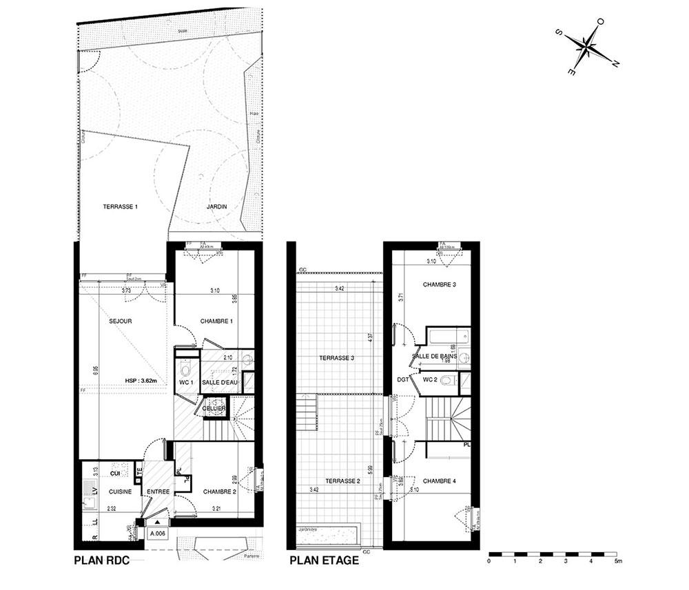 Maison n°M6 Trilogie : T5 de 95.01 m² à Asnières-sur-Seine