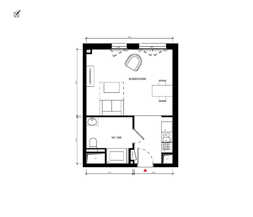 Appartement n2004 Signature  T1 de 3142 m  Versailles