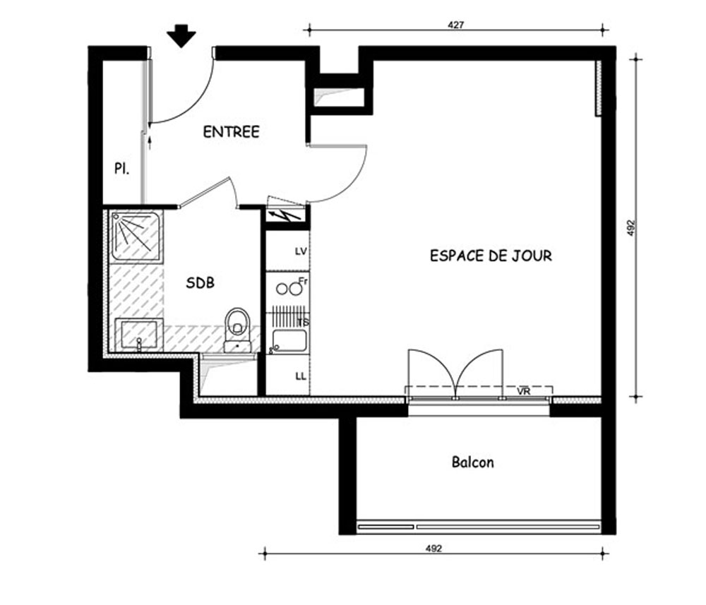 plan dun appartement t1