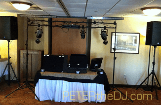DJ setup at Annie and Josh's wedding at The Red Mill Inn, Baldwinsville, NY.