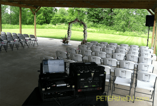DJ setup for outdoor wedding ceremony at the American Legion in Cicero.