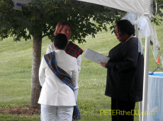 During the ceremony - officiant had a wireless lapel mic