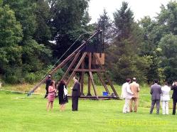 The pumpkin-launching trebuchet at Our Farm.