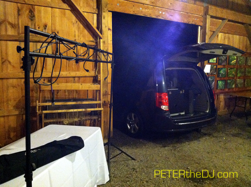 One of my favorite aspects about receptions in barns: being able to pull my van right in at the end of the night... especially when it's downpouring outside!