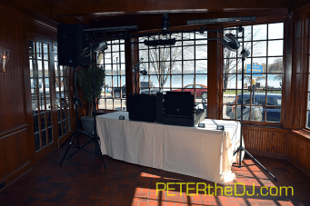 DJ equipment set-up on the dance floor before guests arrive