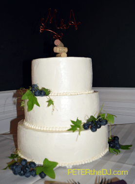 Mary and Anthony's wedding cake - note the custom-made topper!