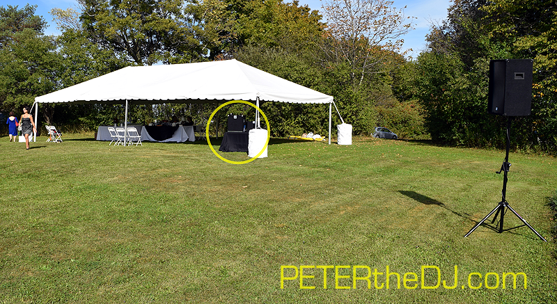 Looking back from the ceremony area to show perspective of where the DJ table was located.