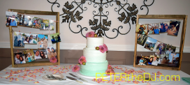 Beautiful wedding cake (I like how it fades to white as it goes up) surrounded my photos of the bride and groom