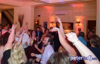 Peter Naughton provides DJ, MC, dance floor lighting and uplighting for a wedding reception at Lincklaen House in Cazenovia, NY