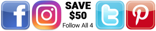 Save $50 total if you like ALL FOUR social media channels
