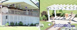Outdoor wedding DJ setup at Gabriella's Manor in Greene, NY