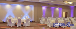 Wedding reception uplighting at Hilton Garden Inn, Auburn, New York. Auburn, NY.