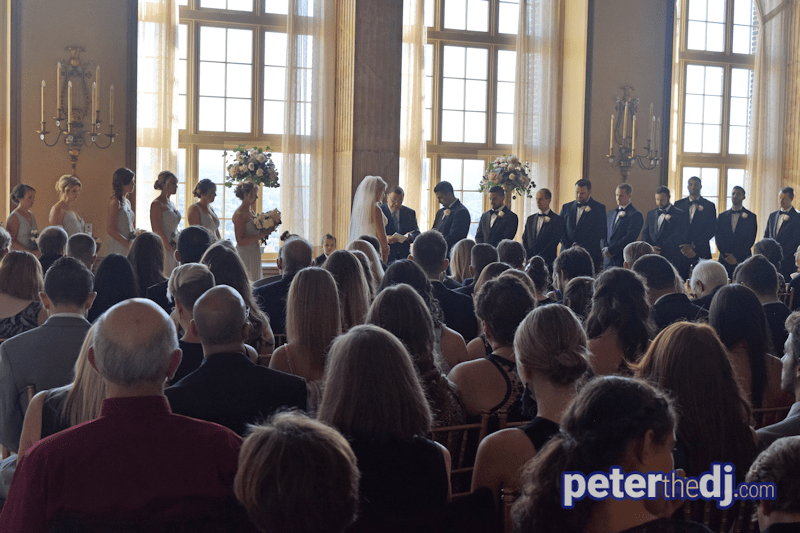 Molly and Quinn's wedding ceremony in the Marriott Syracuse Downtown Grand Ballroom, September 2017. Copyright Peter Naughton peterthedj.com