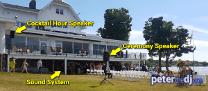 Outdoor wedding ceremony DJ setup for Chris and Ashley's wedding at Lake Shore Yacht & Country Club, Cicero, NY.