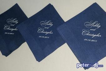 Personalized napkins: Chris and Ashley's wedding at Lake Shore Yacht & Country Club, Cicero, NY