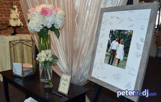 "Gift table and ""guestbook"" photo frame at Kara & Jordan's wedding reception at SKY Armory, Syracuse, NY."