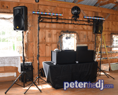 Wedding DJ setup at Amber and Nate's wedding at Our Farm, Manlius / Cazenovia, NY. Photo by wedding DJ Peter Naughton