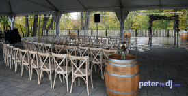 Outdoor ceremony seating for Emily and Nick's wedding at Tailwater Lodge, Altmar, NY. Photo by DJ Peter Naughton. October 2018