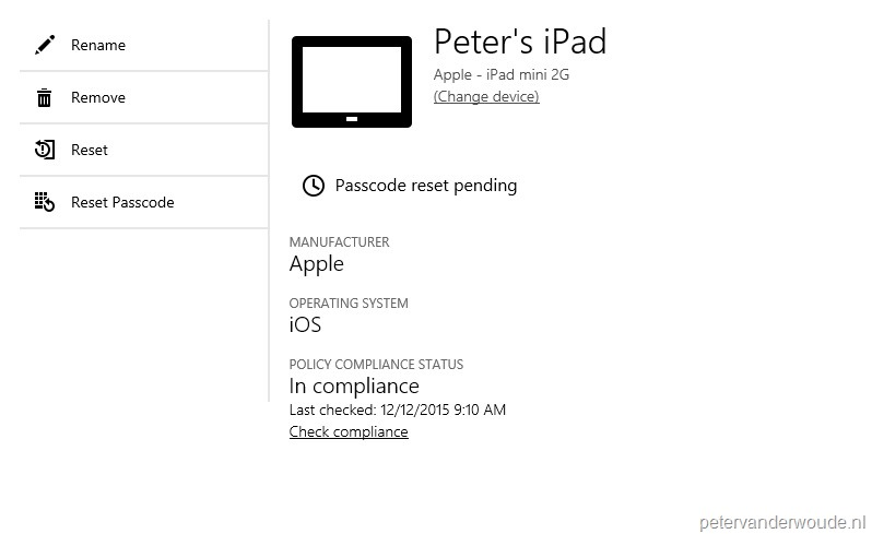 Reset passcode via the Company Portal website – More than just ConfigMgr