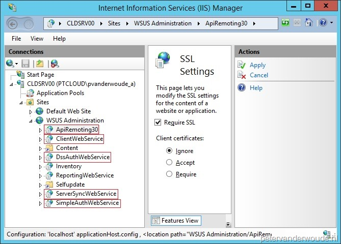 How to configure a Software Update Point to use SSL for