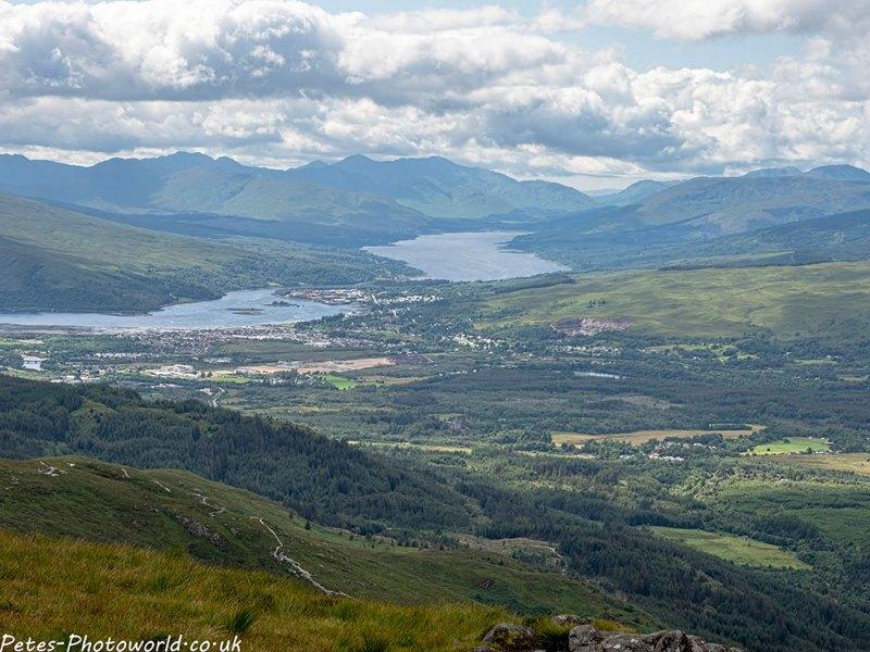 Loch Linnhe, Loch Eil, the hills of Ardgour and Moidart from Sgurr Finnisg-aig