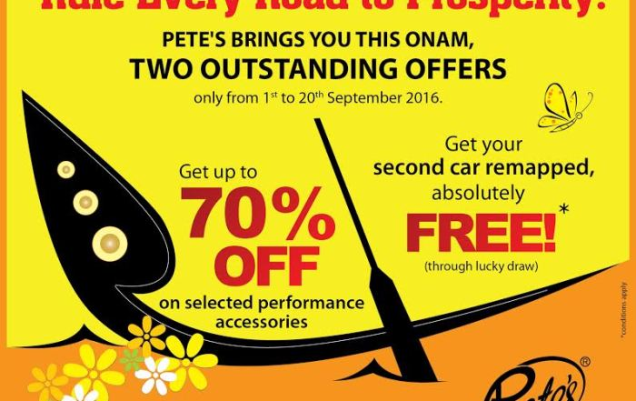 Pete's – Onam Offer – 1st Sept – 20th Sept 2016