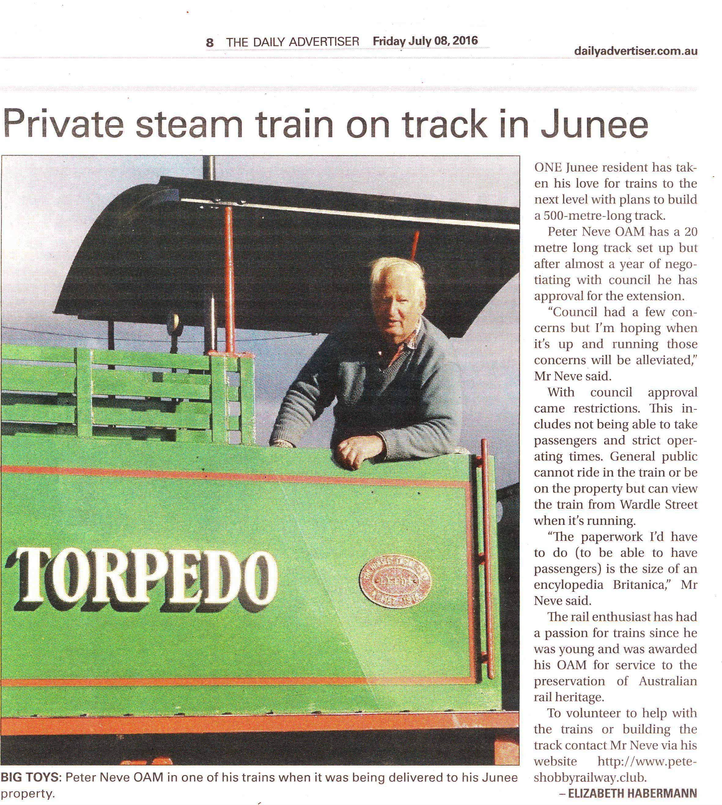 Peter Neve OAM is setting up his own train track in Junee