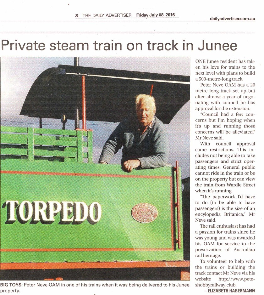 Private Steam Train on Track in Junee, as published in The Daily Advertiser (July 8, 2016)