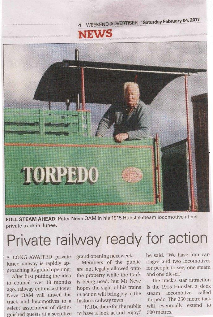 Private railway ready for action. Wagga Weekend Advertiser. February 04, 2017. Page 4