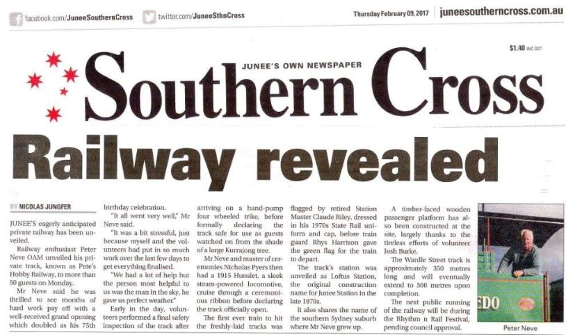 Railway Revealed as it appeared on Page 1 of the Junee Southern Cross on Thursday, February 9, 2017